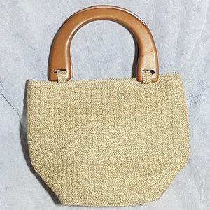 Talbots Small Woven Cloth Bucket Bag w Wood Handle